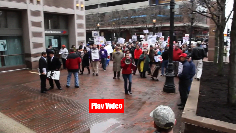 *Video:april 4, protestors march after speakout in front of bank of america